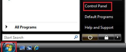 Windows Vista Start-Control Panel