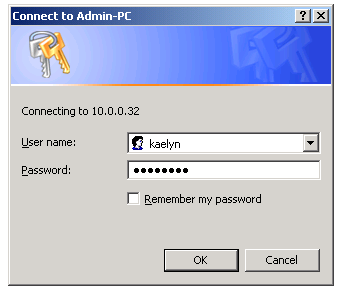 Authenticating to password protected file shared