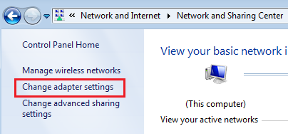 Network and Sharing Center for Windows 7