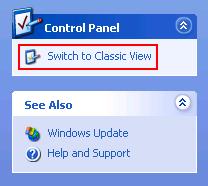 Windows XP classic view