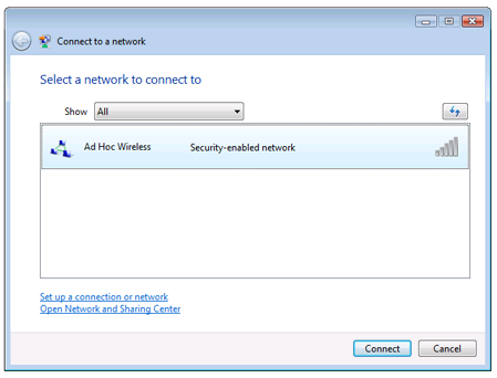 Connect to an Ad Hoc Wireless Network