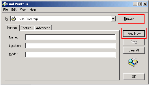 Find printer in active directory