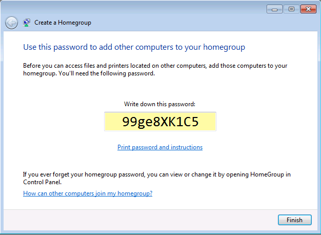 Create a password for your homegroup