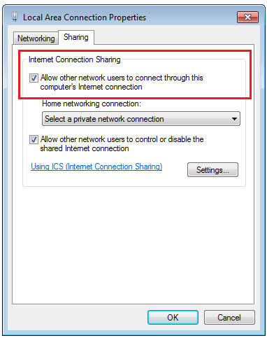 Internet Connection Sharing in Windows 7