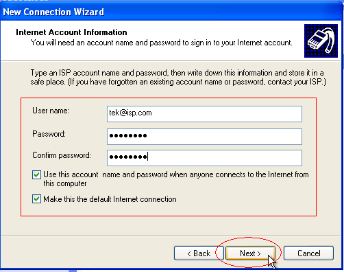 Internet Account Information