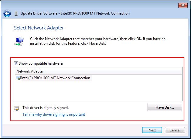 Windows 7 Select Network Adapter