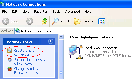 Create a new connection - Windows XP