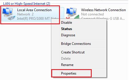 Windows Vista Network Connections