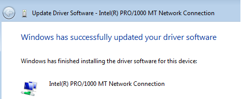 Network Driver successfully installed in Windows Vista