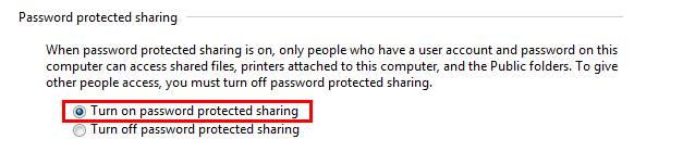 Windows 7 password protected sharing