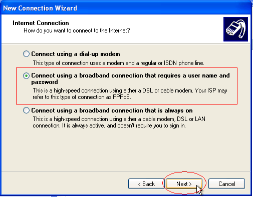 Connect using a broadband connection that requires a user name and password