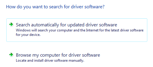 Search for driver software in Vista