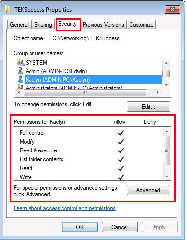Security tab on Windows 7 file shared
