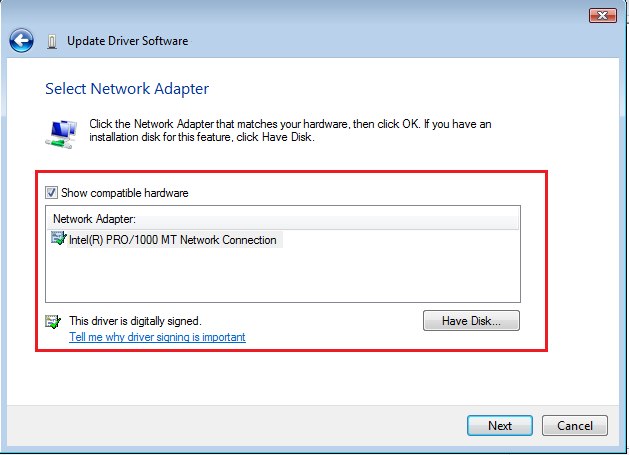 Select Network Driver in Vista