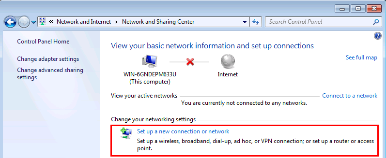 Windows 7 Set up a new connection or network