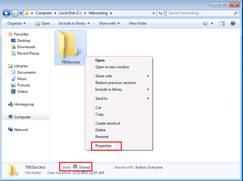 Password protected file sharing in Windows 7