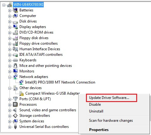 Update driver software in Windows Vista