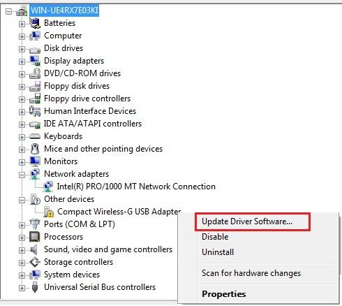 Update driver software in Windows Vista