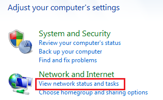 Windows 7 view network status and tasks