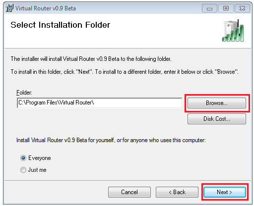 Virtual Router select Installation folder