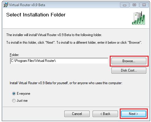 Virtual Router select Installation folder