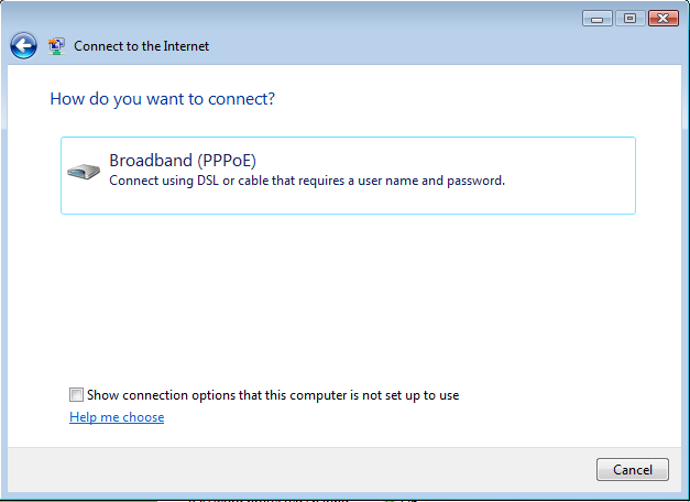 Windows Vista Broadband PPPo