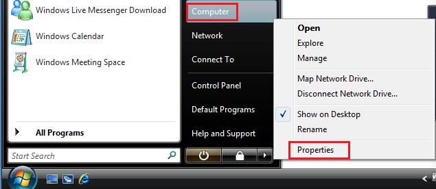 Windows Vista Start-Computer