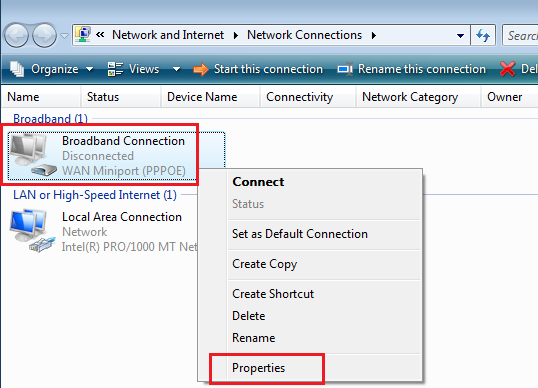 PPPoE Connection in Window