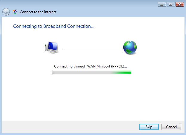 PPPoE connecting to Broadband Connectio