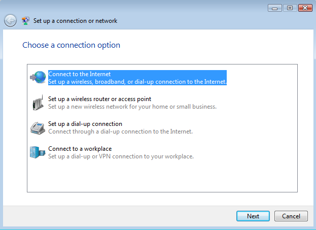 Set up a connection or network windo