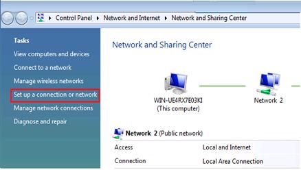 Network and Sharing Center Vista