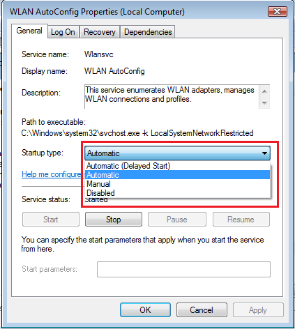 WLAN AutoConfig Service Properties