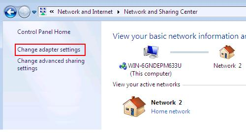 Windows 7 Change adapter settings