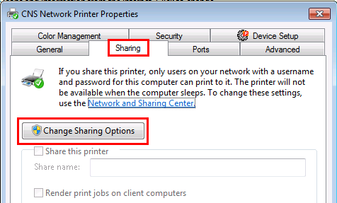Windows 7 Change Printer Sharing Options