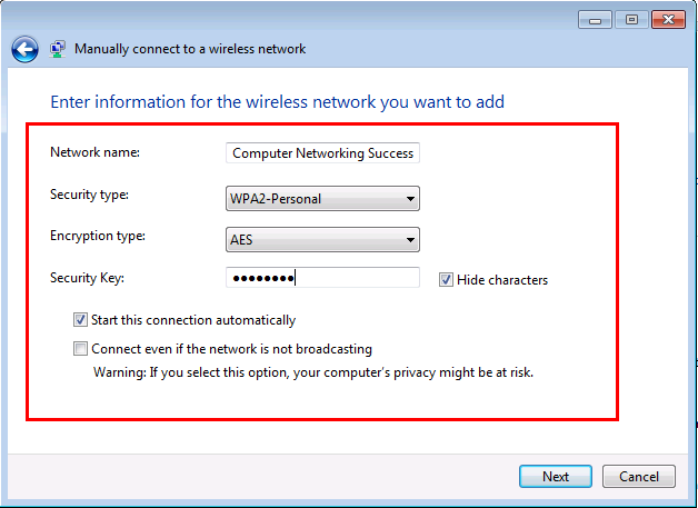 Manually connect to a wireless network in Windows 7