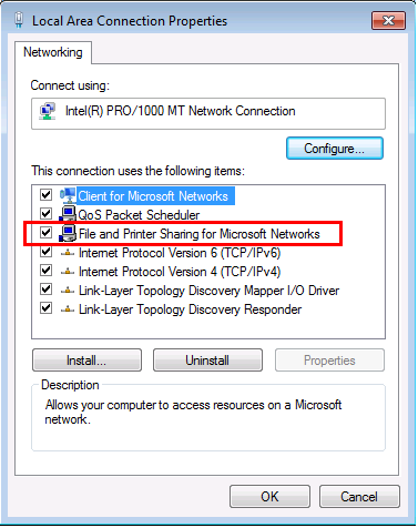 Local Area Connection Properties in Windows 7