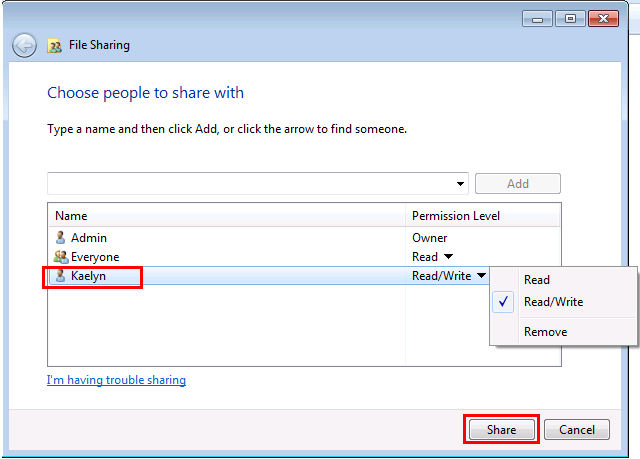 Choose people to share with in Windows 7
