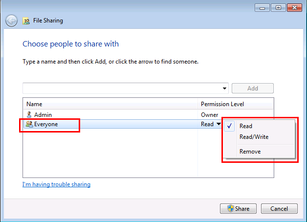 Windows 7 File Sharing Wizard