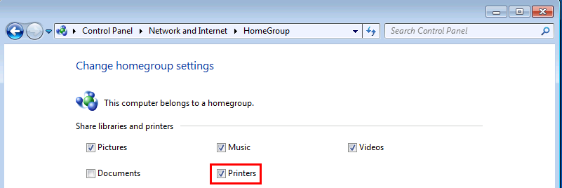 Windows 7 HomeGroup Printers