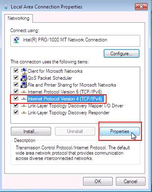Windows 7 Local Area Connection Properties