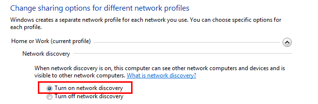 Turn on network discovery in Windows 7