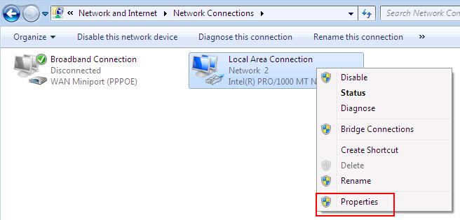 Windows 7 Local Area Connection