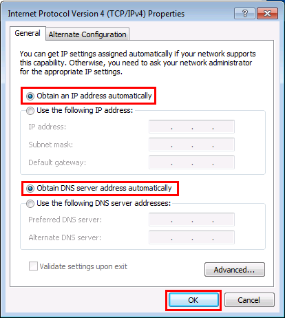Windows 7 Obtain an IP Address automatically