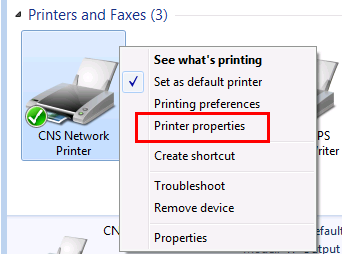 Windows 7 Printer Properties