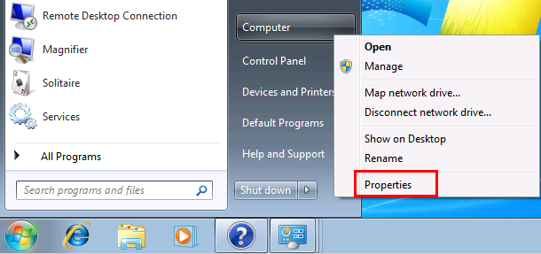 Windows 7 Properties