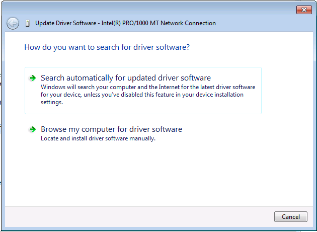 Windows 7 Search for driver software