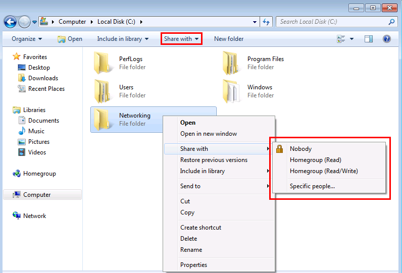 Windows 7 simple file sharing