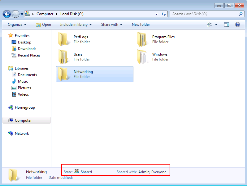 Windows 7 shared folder