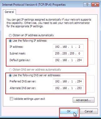 TCP/IP Version 4 Properties in Windows 7