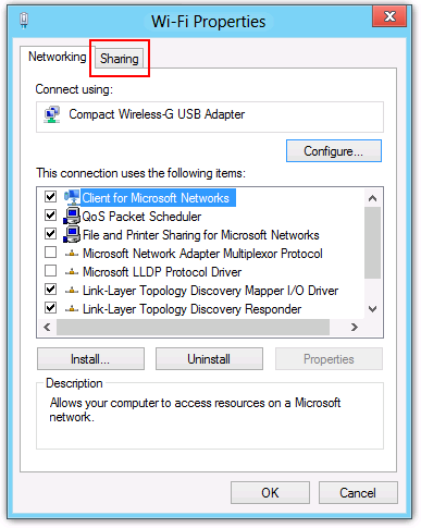 Windows 8 Wi-Fi Properties